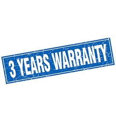 3 years warranty blue square grunge stamp on white vector