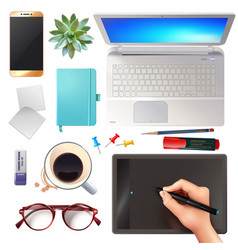 3d office objects set vector image