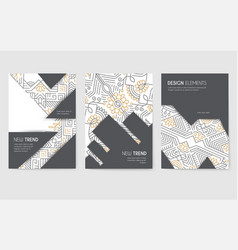 Abstract brochure cards set outline art vector