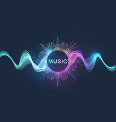 Abstract motion sound wave lines and dots dynamic vector