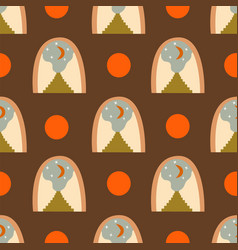Abstract seamless pattern arch with crescent vector