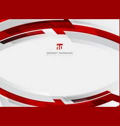 abstract technology geometric red color shiny vector image