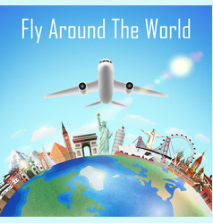 airplane with world travel landmark over world vector image