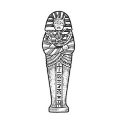 Ancient egyptian sarcophagus sketch vector
