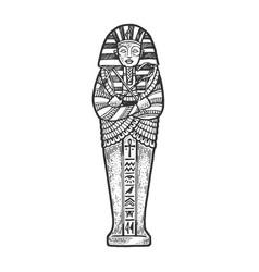Ancient egyptian sarcophagus sketch vector