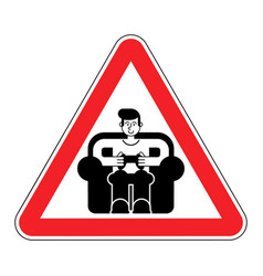 attention gamer red road sign danger caution guy vector image