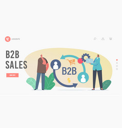 B2b sales landing page template businesspeople vector