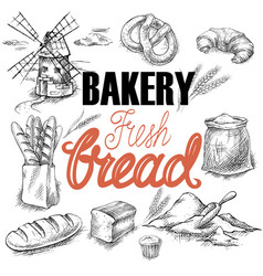 bakery bread sketch vector image
