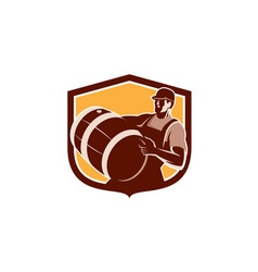 Bartender Carrying Beer Barrel Shield Retro vector
