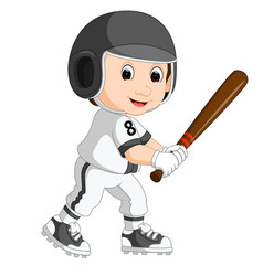 Baseball player kid cartoon vector