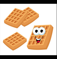 belgian waffles or viennese waffles cute cartoon vector image
