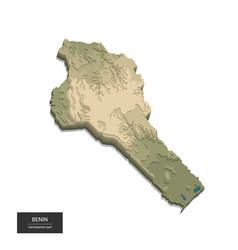 benin map - 3d digital high-altitude topographic vector image