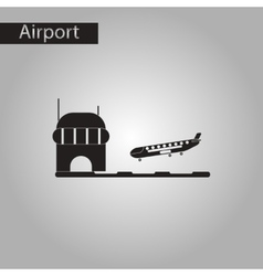 black and white style icon airplane lands airport vector image