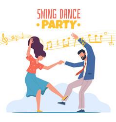 boogie woogie dancing happy couple man vector image
