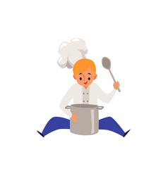 boy cook in chef cat and uniform cooking food in a vector image