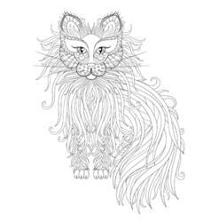 Cat with Fluffy tail in zentangle style Freehand vector