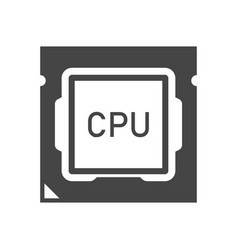 central processing unit bold black silhouette icon vector image