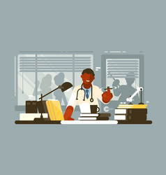 chief doctor of hospital in office vector image