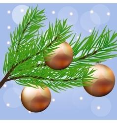 Christmas branch with hanging Christmas ball vector