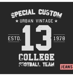 College team vintage stamp vector image