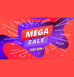 creative mega sale discount banner template with vector image