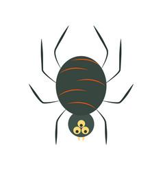 creepy black spider cartoon flat icon style vector image