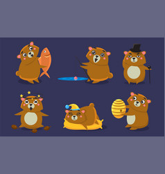 Cute brown guinea pig character set funny vector