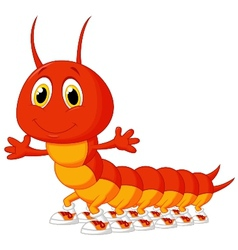 Cute centipede cartoon vector