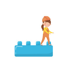 Cute girl builder and buiding toy block preschool vector