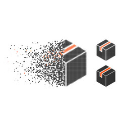 Damaged pixelated halftone package icon vector