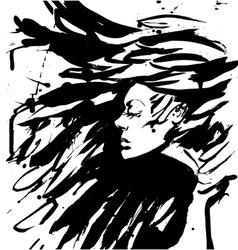 Dark Queen Fantasy black hair Drawn ink vector image