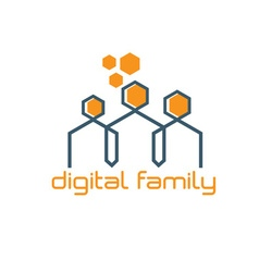 Digital family design template vector