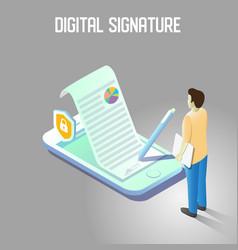 digital signature isometric vector image