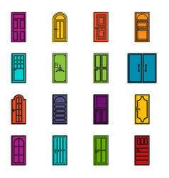 door icons doodle set vector image