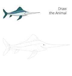 Draw swordfish educational game vector