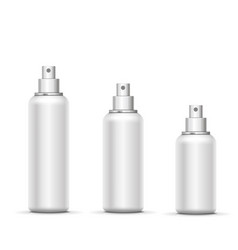 Empty white metal spray bottle with cap set vector