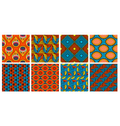 Ethnic wax textile pattern african abstract wax vector