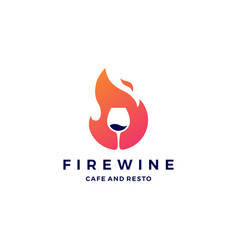 fire flame wine logo icon vector image