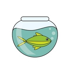 Fish animal cartoon inisde bowl design vector
