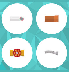 Flat icon sanitary set of drain corrugated pipe vector