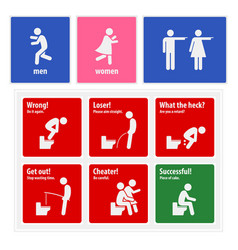 funny toilet signs creative signboards a set of vector image