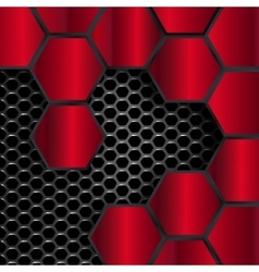 Geometric pattern of hexagons red metal plates vector