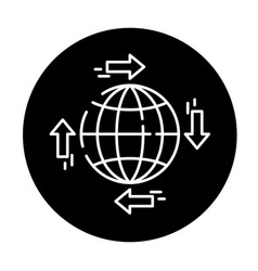 global distribution black icon sign on vector image