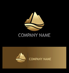 Gold ice mountain nature logo vector