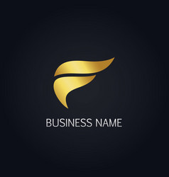 gold wave abstract f logo vector image