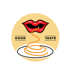good taste spaghetti logo with mouth vector image