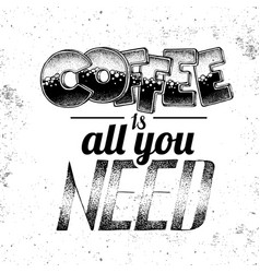 grunge typography coffee menu design lettering vector image