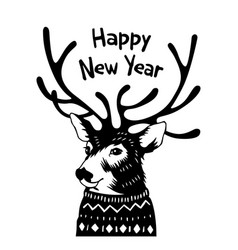 hand drawn holiday card in sweater happy new year vector image
