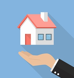Hand with house flat icon vector image