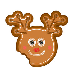 happy bitten reindeer gingerbread vector image
